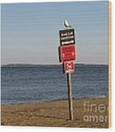 Signage On The Beach At Sandy Point Wood Print