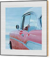 Signed Chevy Belair At The Beach Mini Wood Print