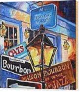 Signs Of Bourbon Street Wood Print