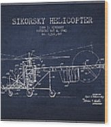 Sikorsky Helicopter Patent Drawing From 1943 Wood Print