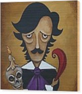 Silence A Poe Caricature Wood Print