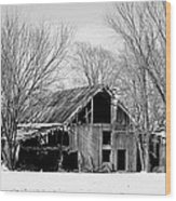 Silent Barn In The Winter Wood Print