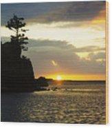 Siletz Bay Sunset Oregon 1 Wood Print