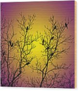 Silhouette Birds Wood Print by Christina Rollo