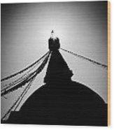 Silhouette Boudhanath Giant Buddhist Stupa In Kathmandu Himalaya Nepal  Wood Print
