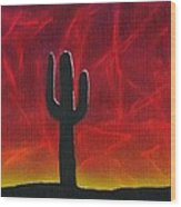 Silhouette Cactus Wood Print