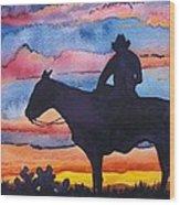 Silhouette Cowboy Wood Print
