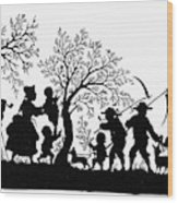 Silhouette Family Life Wood Print