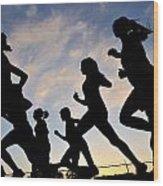 Silhouette Female Runners Wood Print