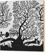 Silhouette Hunting Wood Print