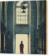 Silhouette In Doorway Wood Print