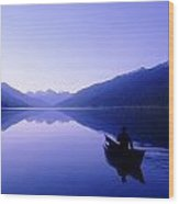 Silhouette Of A Canoeist At Sunrise Wood Print