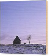 Silhouette Of A Farm And A Tree. Cezallier. Auvergne. France Wood Print