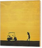 Silhouette Of A Man During A Golf Swing Wood Print