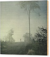 Silhouette Of A Man In Fog Wood Print