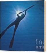 Silhouette Of A Young Woman Spearfishing Wood Print