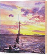 Silhouette Of Boat And Sailors On Torch Lake Michigan Usa Wood Print