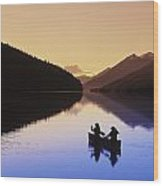 Silhouette Of Canoeists, Bowron Lake Wood Print