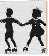 Silhouette Of Children Rollerskating Wood Print