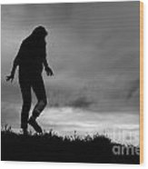 Silhouette Of Girl Walking Wood Print