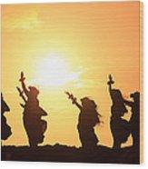 Silhouette Of Hula Dancers At Sunrise Wood Print