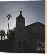 Silhouette Of Mission Santa Clara Wood Print