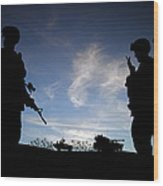 Silhouette Of Modern Soldiers  Wood Print by Matthew Gibson