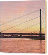 Silhouette Of Rheinturm Tower Wood Print