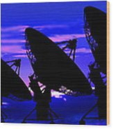 Silhouette Of Satellite Dishes Wood Print
