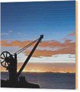 Silhouette Of The Davit In Dublin Port Wood Print