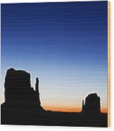 Silhouette Of The Mitten Buttes In Monument Valley  Wood Print