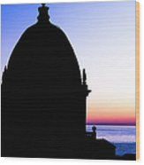 Silhouette Of Vernazza Duomo Dome Wood Print