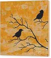 Silhouette Orange Wood Print