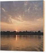 Silhouette Scenery Of  Nakorn Phanom City From Mekong River Wood Print