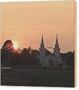 Silhouette Scenery Of Saint Anna Nongsang Catholic Church Wood Print
