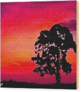 Silhouette Sunset H A Wood Print