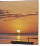 Silhouetted Boat Wood Print