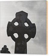 Silhouetted Celtic Cross Wood Print