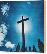 Silhouetted Cross Wood Print