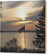 Silhouetted Flag At Sunset Wood Print
