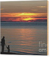 Silhouetted In Sunset At Sturgeon Point Marina Wood Print