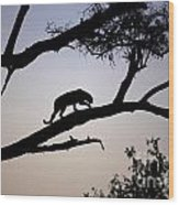 Silhouetted Leopard Wood Print