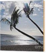 Silhouetted Palm Trees On Maui Beach Wood Print