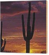 Silhouetted Saguaro Cactus Sunset  Arizona State Usa Wood Print