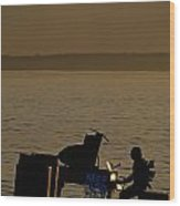 Silhouetted Sea Monster Playing Piano.tif Wood Print