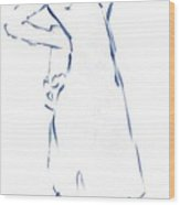Silhouetted Woman Standing Wood Print