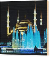 Silhouettes Of Blue Mosque Night View Wood Print
