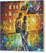 Silhouettes - Palette Knife Oil Painting On Canvas By Leonid Afremov Wood Print
