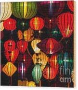 Silk Lanterns In Vietnam Wood Print