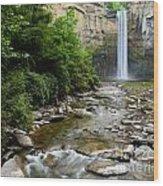 Silken Water Summer Waterfall Wood Print